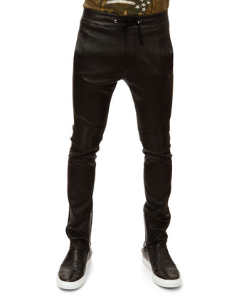 Leather Biker Pants, Black