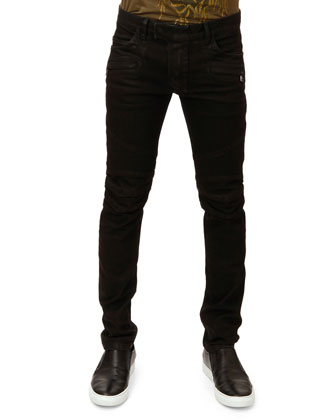 Zip-Detail Biker Jeans, Black