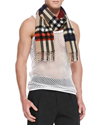 Men's Dark Check Cashmere Scarf, Camel