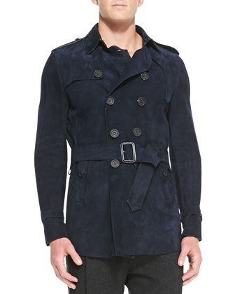 Suede Trench Coat, Ink Blue