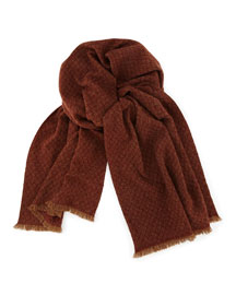 Cashmere Siena Scarf, Red/Camel