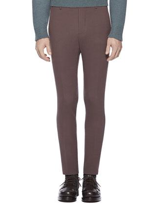 Stretch Crepe Sharp Pants, Dark Purple