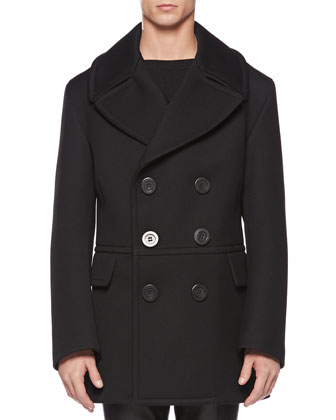 Wool Oversize Peacoat, Black