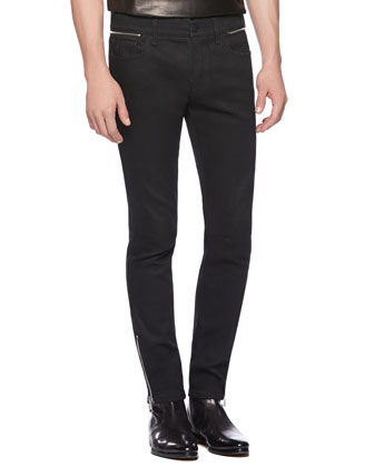 Stretch-Denim Super Skinny Jeans, Black