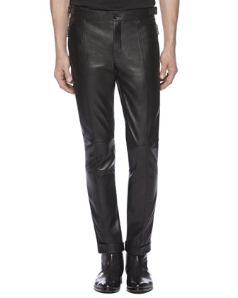 Leather Skinny Pants, Black