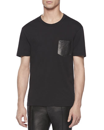 Tee with Leather Pocket, Black