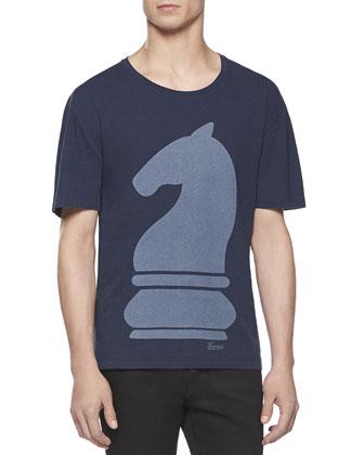 Knight-Print Tee, Blue