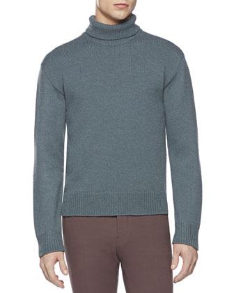 Alpaca-Blend Turtleneck Sweater, Blue