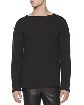 Wool Crewneck Sweater, Black