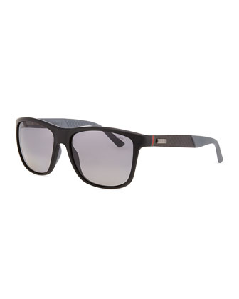 Matte-Frame Sport Sunglasses, Black