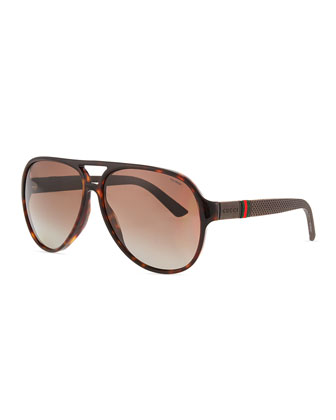 Aviator Acetate Sunglasses, Havana