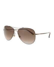 Shiny Metal Aviator Sunglasses, Olive