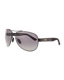 Stainless-Steel Aviator Sunglasses, Black