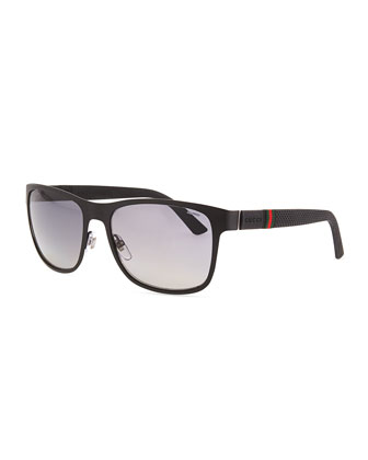 Metal Matte Sunglasses, Black/Gray