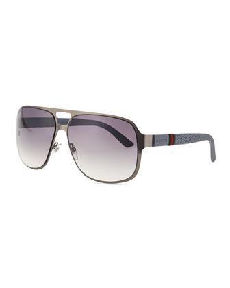 Ruthenium Matte Aviator Sunglasses, White/Gray