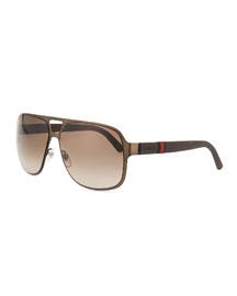 Brushed Metal Aviator Sunglasses, Brown