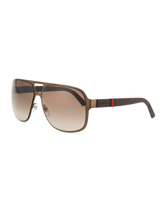 Brushed Metal Aviator Sunglasses, Brown