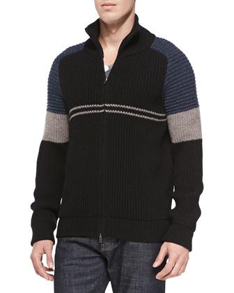 Colorblock Ribbed-Knit Zip Cardigan, Navy