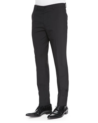 Slim-Fit Wool Trousers Black