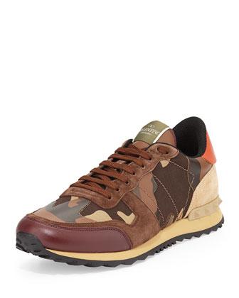 Rockstud Camo-Print Sneaker, Brown