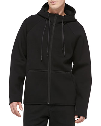 Scuba Double-Knit Zip Hoodie, Black