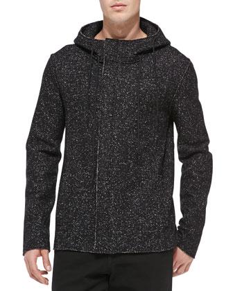 Boucle Fleece Hooded Jacket, Black/White