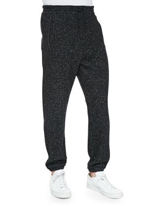 Boucle Fleece Track Pants, Black/White