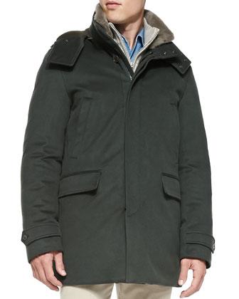 Cashmere Storm System Jacket, Green