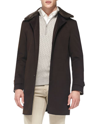 Hannover Single-Breasted Cashmere Coat with Fur Collar, Brown