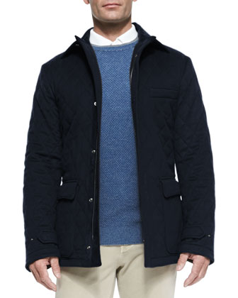 Quilted Belfast Storm System Jacket, Blue Navy