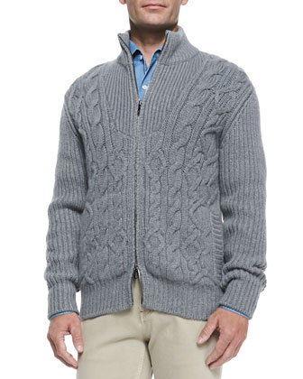 Baby Cashmere Cable-Knit Zip Cardigan, Gray