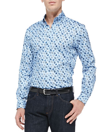 Small-Paisley Printed Poplin Shirt