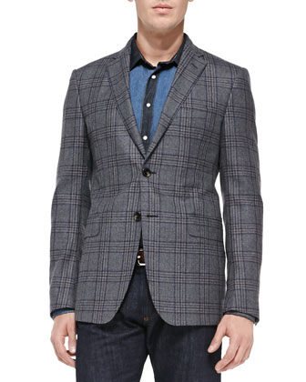 Check Two-Button Blazer, Gray/Navy