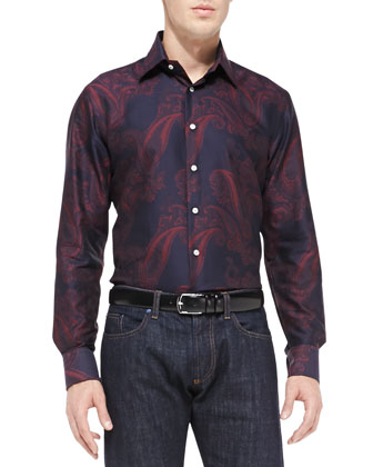 Cotton Paisley-Print Shirt, Burg/Black