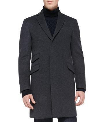 Velvet-Collar Felt Overcoat