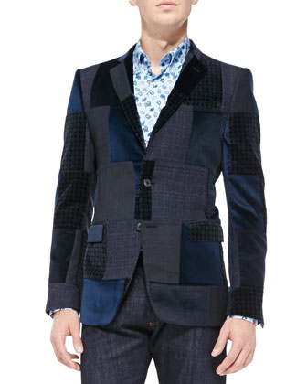 Patchwork Velvet Jacket, Blue