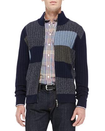 Colorblock Full-Zip Cardigan, Navy