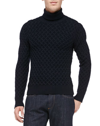 Wool Turtleneck Sweater, Navy