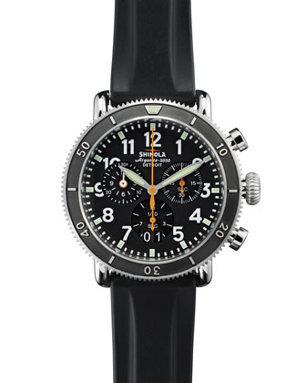 48mm Runwell Sport Chronograph Watch with Rubber Strap, Black