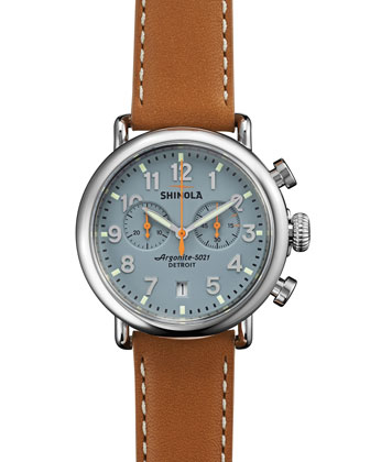 41mm Runwell Chrono Watch, Light Brown/Gray