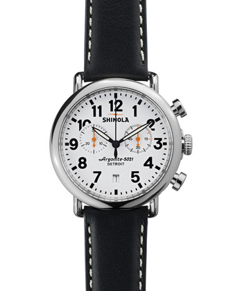 41mm Runwell Chrono Watch, Black/White