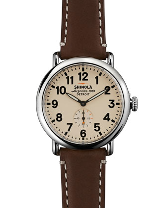41mm Runwell Men's Watch, Dark Brown/Cream
