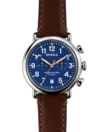 41mm Runwell Chrono Watch, Dark Brown/Blue