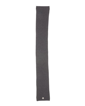 Men's Cashmere Ribbed Scarf, Charcoal