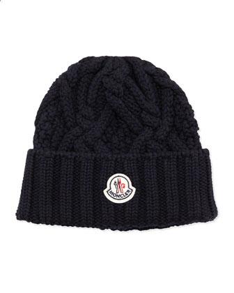 Cable Knit Logo Cap, Navy
