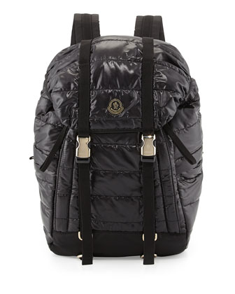 Men's Quilted Nylon Flap Backpack, Black