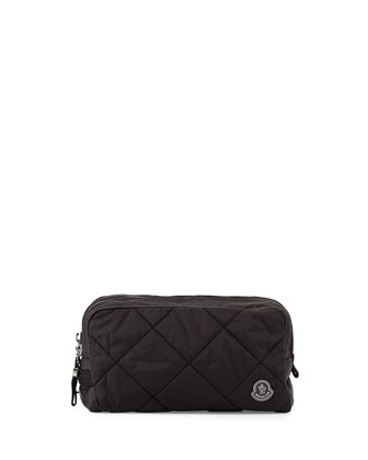 Quilted Nylon Toiletry Bag, Black