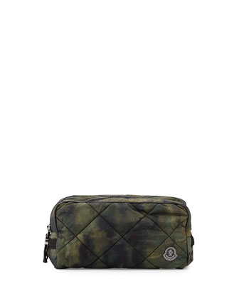 Quilted Nylon Toiletry Bag, Camo