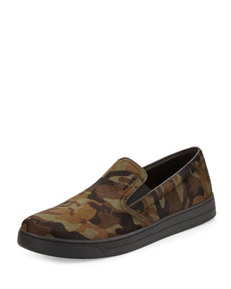 Camouflage Calf Hair Slip-On, Green