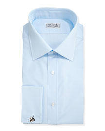 Solid Poplin French-Cuff Shirt, Light Blue